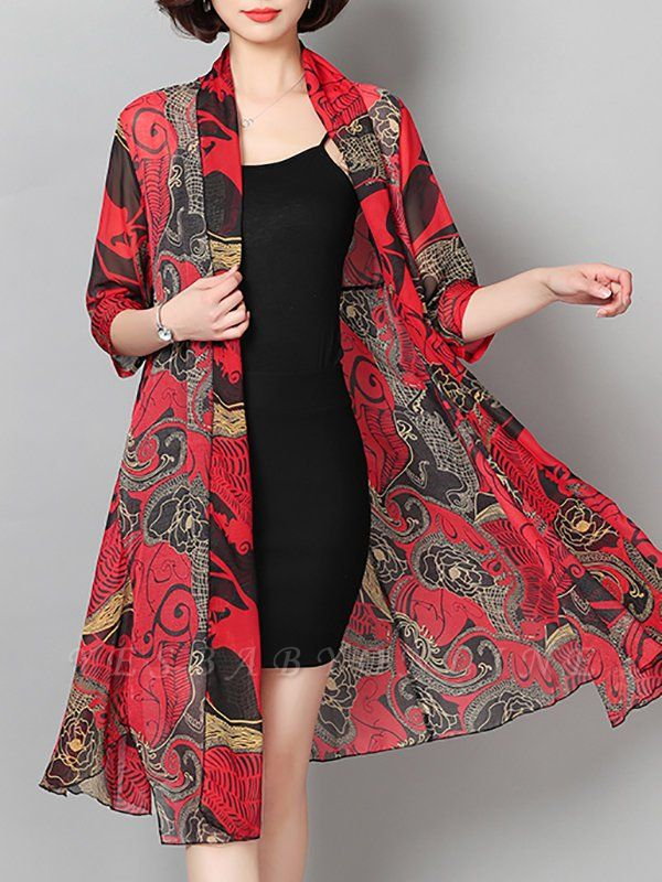 3/4 Sleeve Floral Swing Casual Printed Chiffon Coat