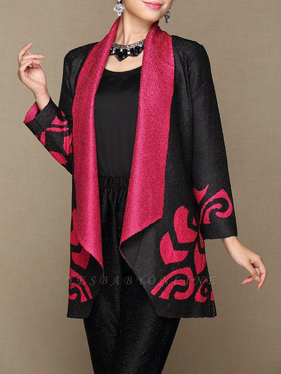 Rose Shawl Collar Long Sleeve Asymmetrical Crinkled Color-block Coat