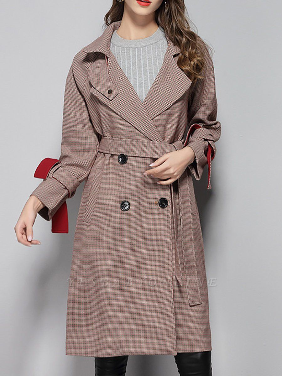 Lapel Work Printed Buttoned Pockets Houndstooth Coats