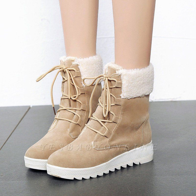 Winter Daily Wedge Heel Lace-up Suede Boot