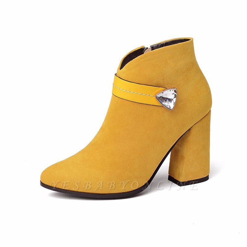 Zipper Chunky Heel Daily Suede Elegant Pointed Toe Boots
