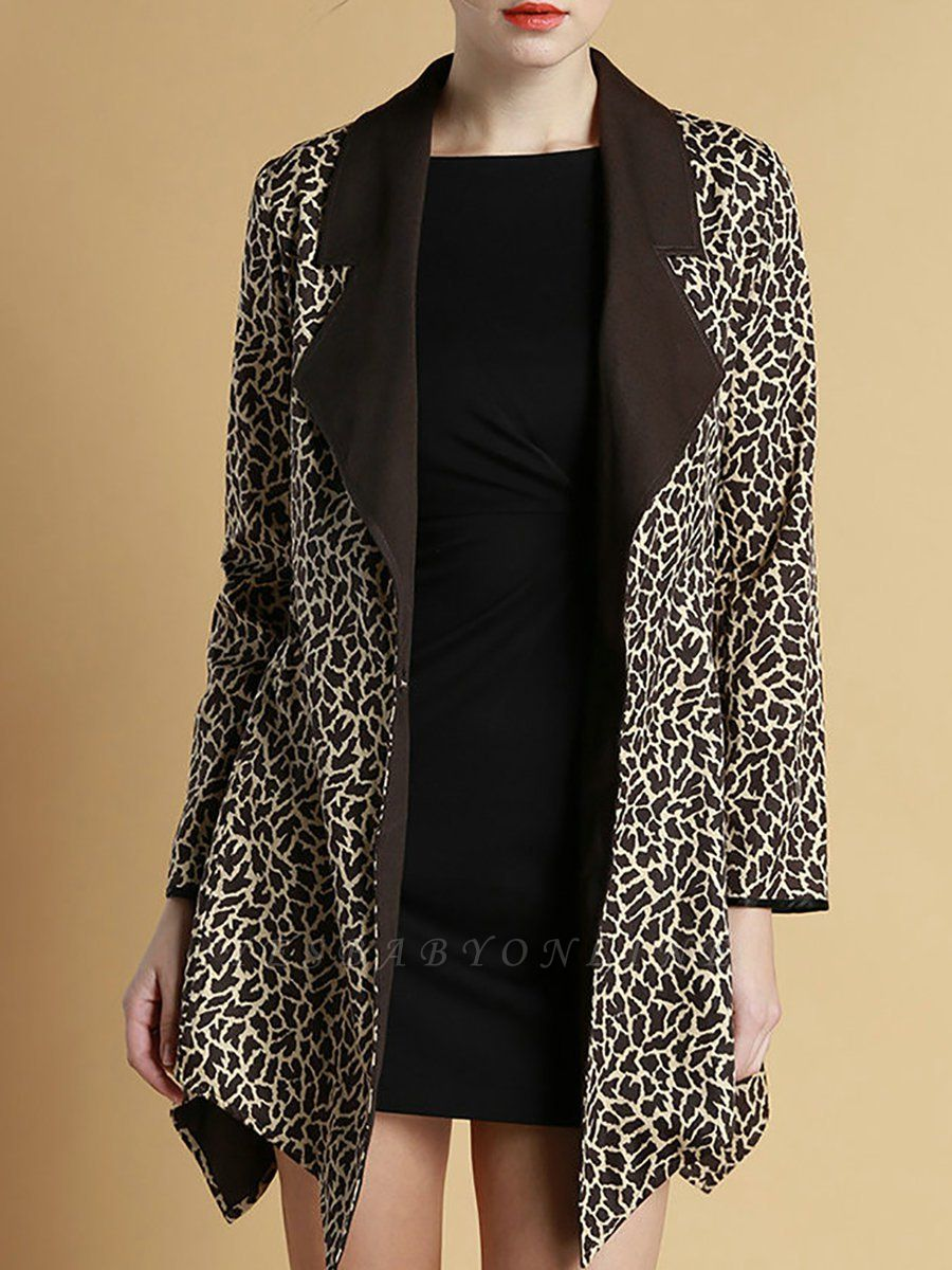 Brown Shawl Collar Asymmetrical Leopard Print  Coat