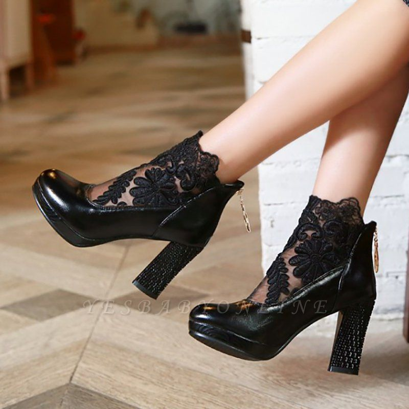 Mesh Fabric Zipper Round Toe Embroidery Boots