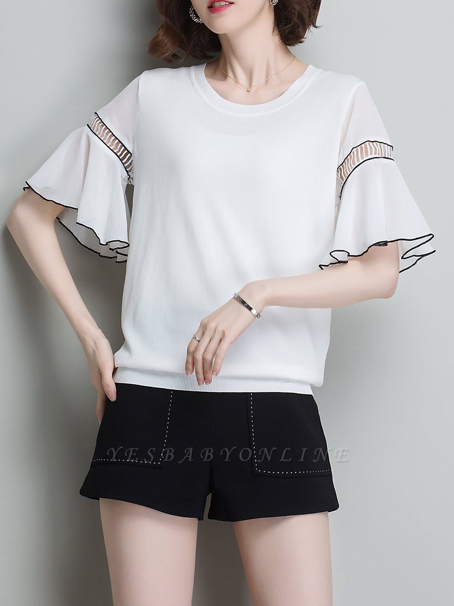 Casual Knitted Shift Frill Sleeve Binding Sweater