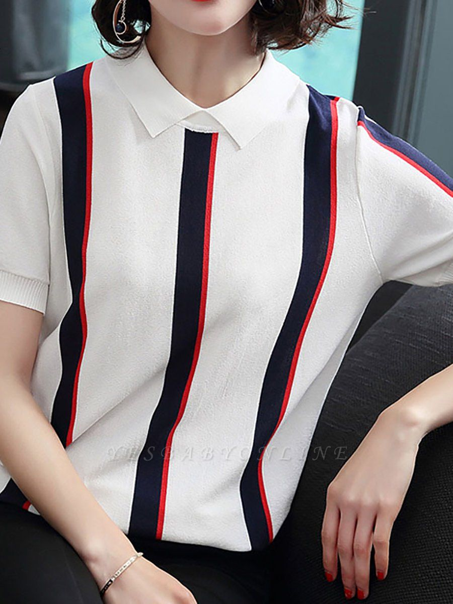 Striped Crew Neck Casual Knitted Short Sleeve Sweater