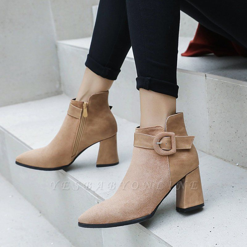 Daily Chunky Heel Suede Round Toe Boot