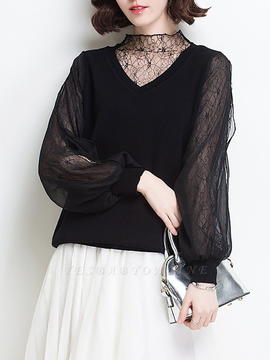 Shift Balloon Sleeve Guipure lace Casual Sweater