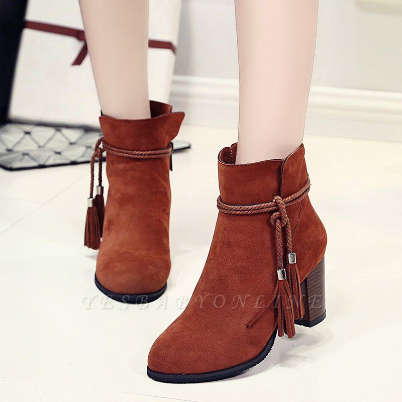 Chunky Heel Daily Tassel Zipper Elegant Boots
