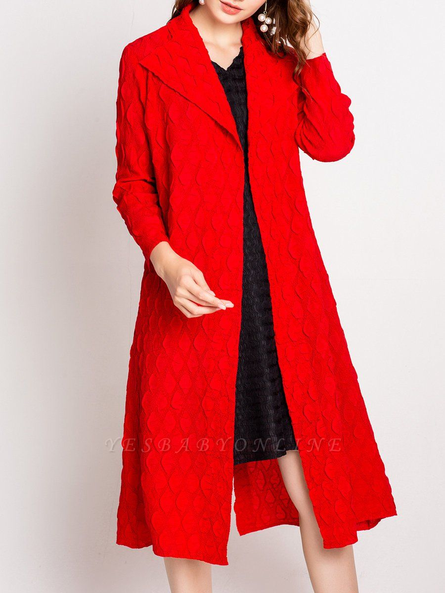 Long Sleeve Slit Casual Solid Shawl Collar Embossed Shift Coat