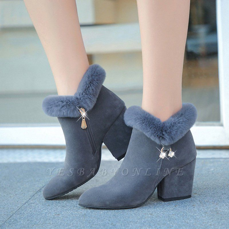 Suede Daily Zipper Chunky Heel Fur Pointed Toe Boot