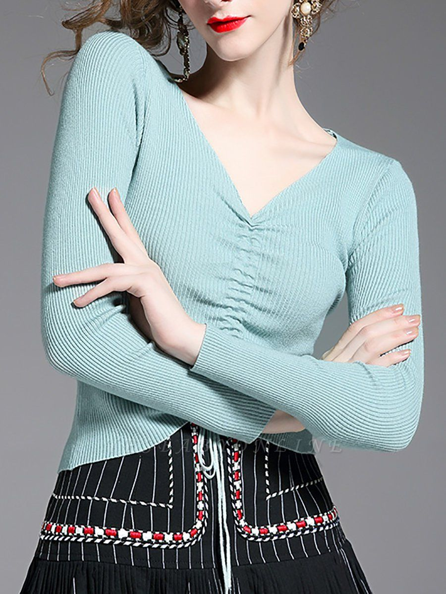 Green Long Sleeve Solid Casual Sweater