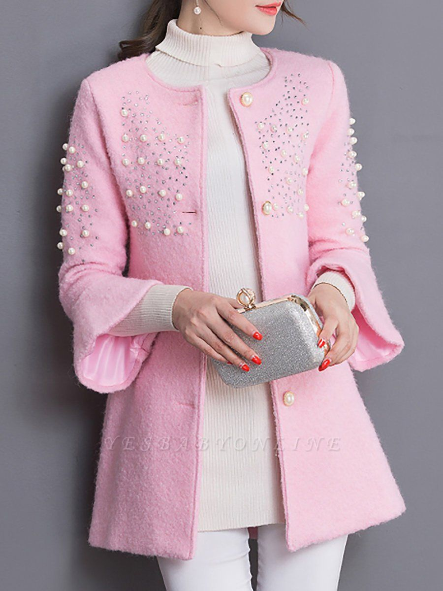 Bell Sleeve Work Shift Buttoned Beaded Coat