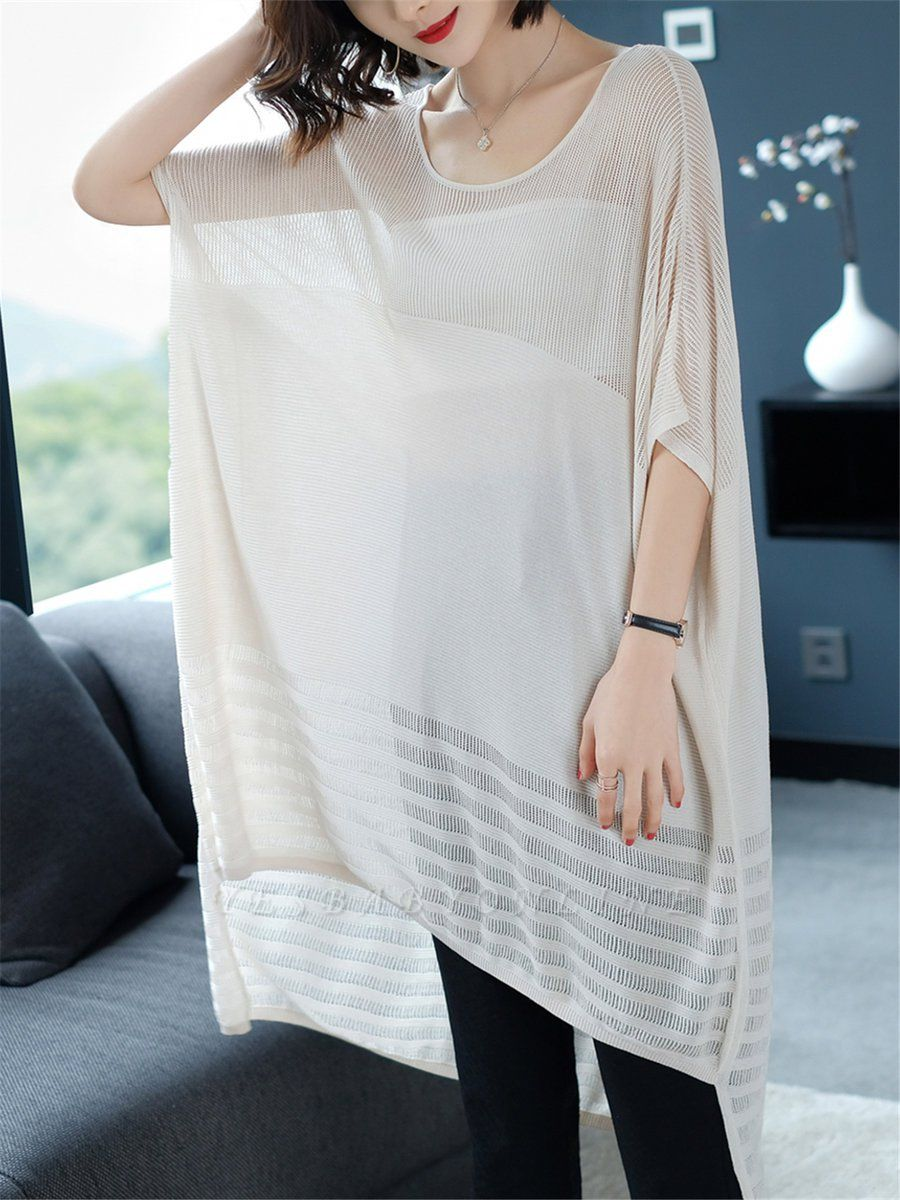 Ice Yarn Casual Half Sleeve Knitted Sweater