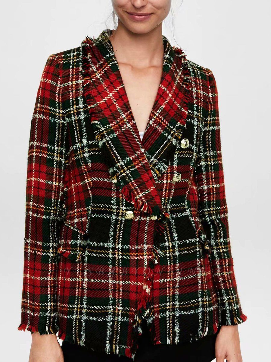 Red Work Checkered/Plaid Printed Buttoned Pockets Coat