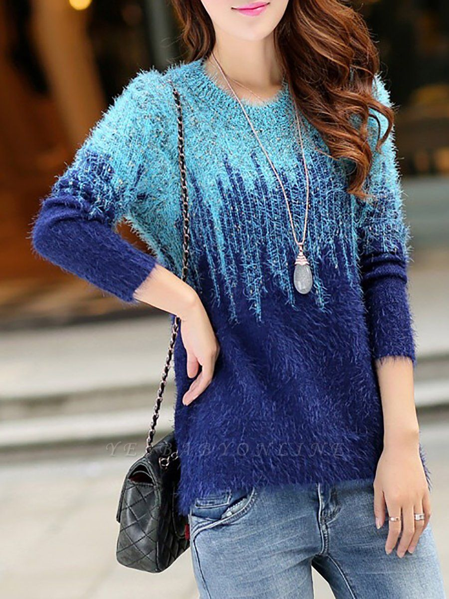 Long Sleeve Casual Color-block Sweater