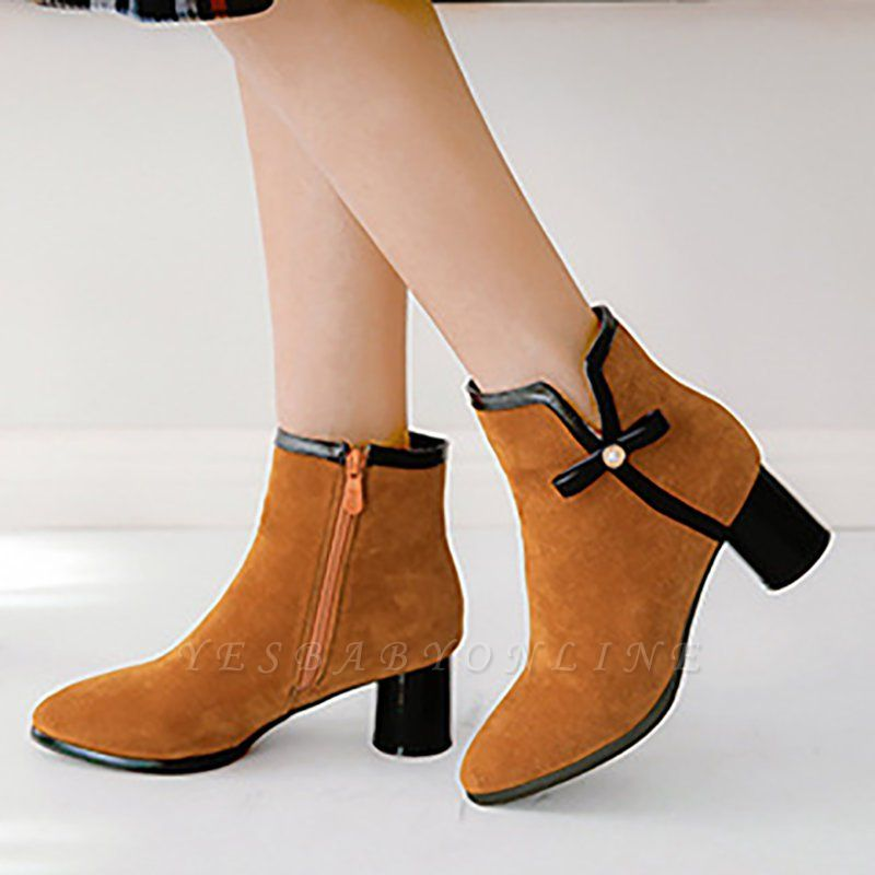 Daily Chunky Heel Zipper Pointed Toe Boots