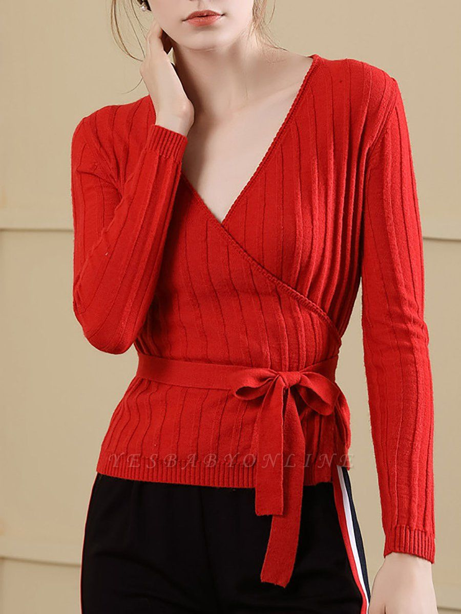 Velvet Plunging neck Casual Knitted Long Sleeve Sweater