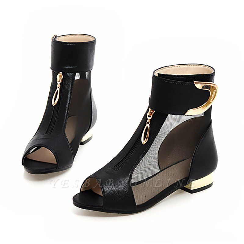 Mesh Hollow-out Peep Toe Summer Boots