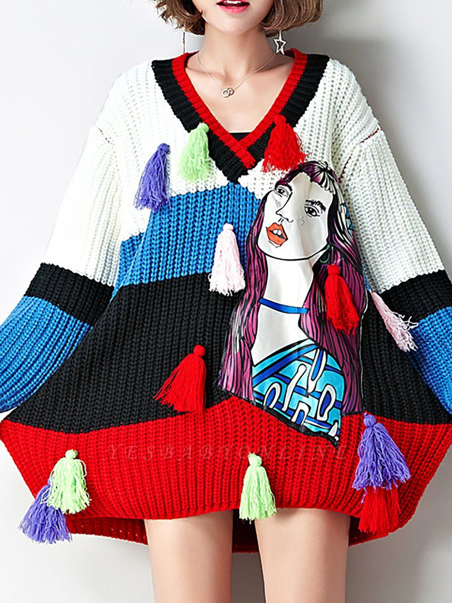 Multicolor Graphic V neck Knitted Statement Batwing Sweater