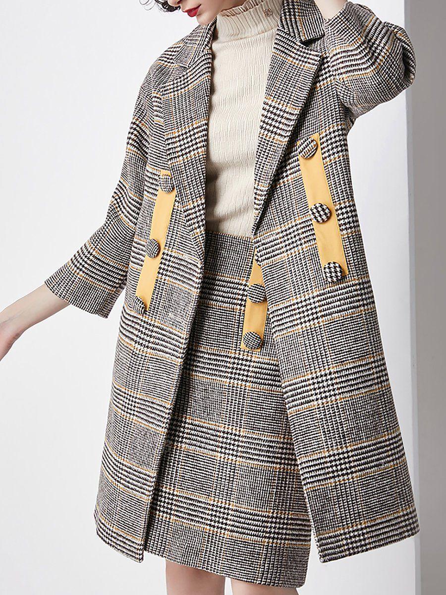 Gray 3/4 Sleeve Pockets Houndstooth Lapel Coat