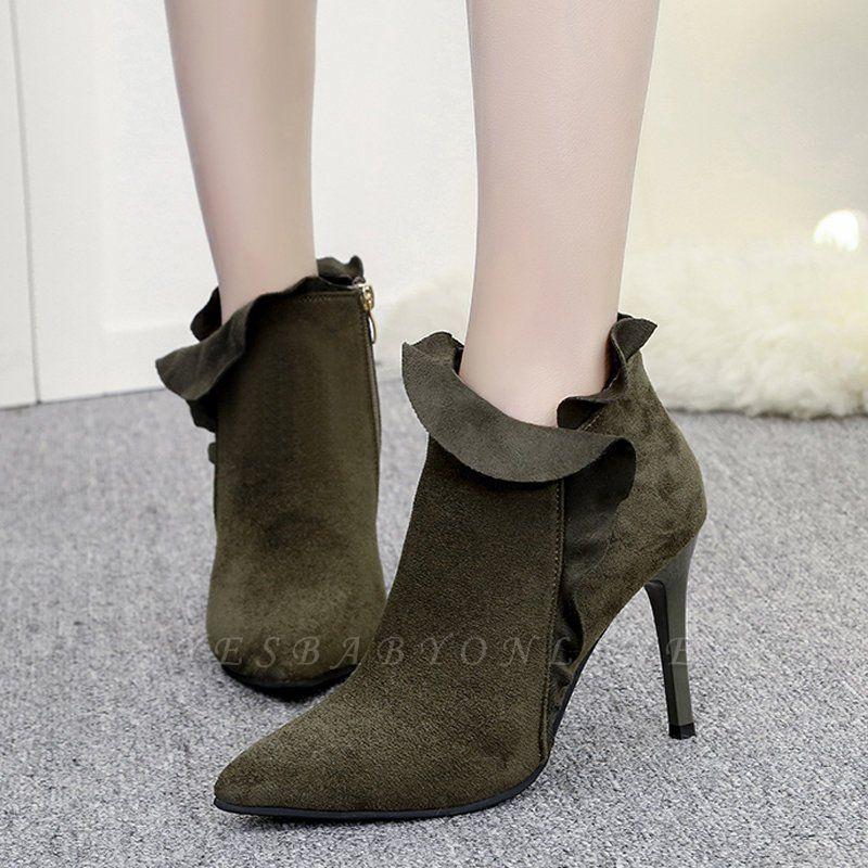 Suede Stiletto Heel Zipper Boots