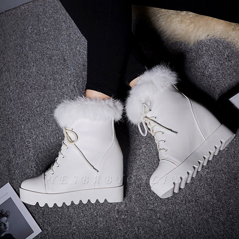 Lace-up Daily Wedge Heel Round Toe Fur PU Boot