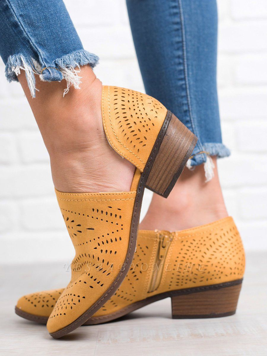 Hollow-out Low Heel Summer Faux Suede Boot