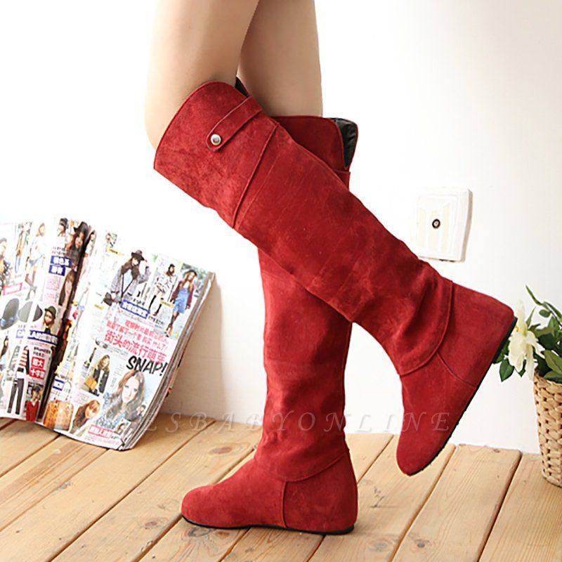 Suede Fall Round Toe Wedge Heel Boot