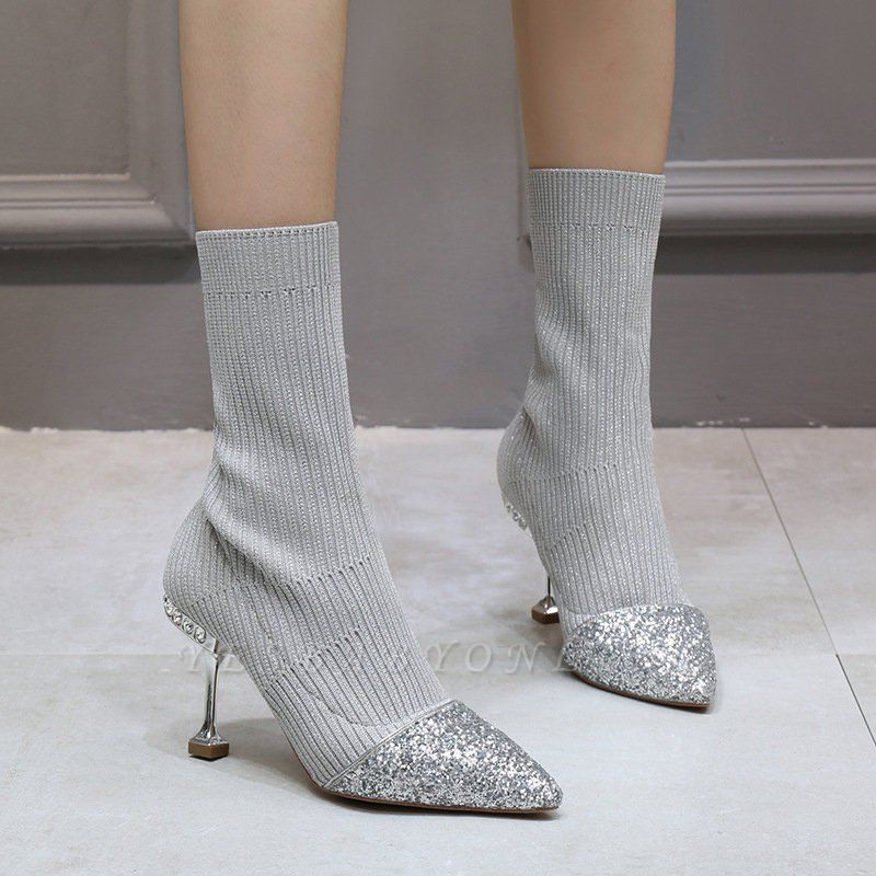 Daily Pointed Toe Cone Heel Knitted Fabric Elegant Boots