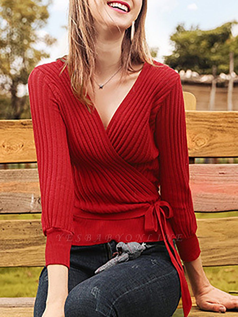 Casual Long Sleeve Shift V neck Sweater