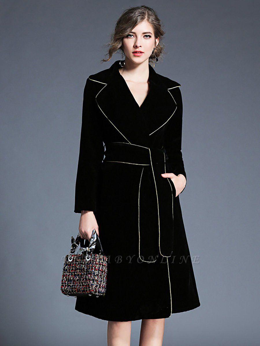 Black Work Lapel Shift Pockets Long Sleeve Coat