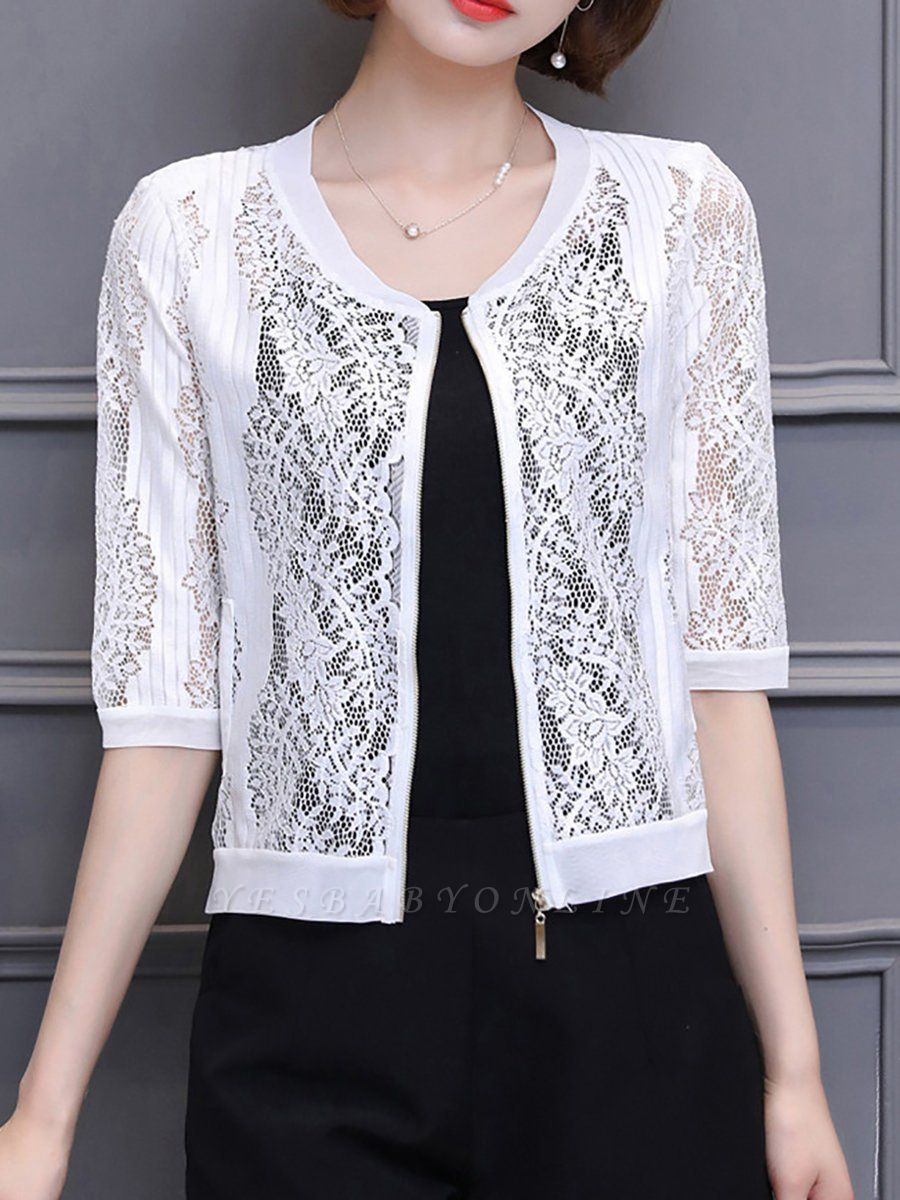 3/4 Sleeve Shift Crew Neck See-through Look Guipure lace Coat