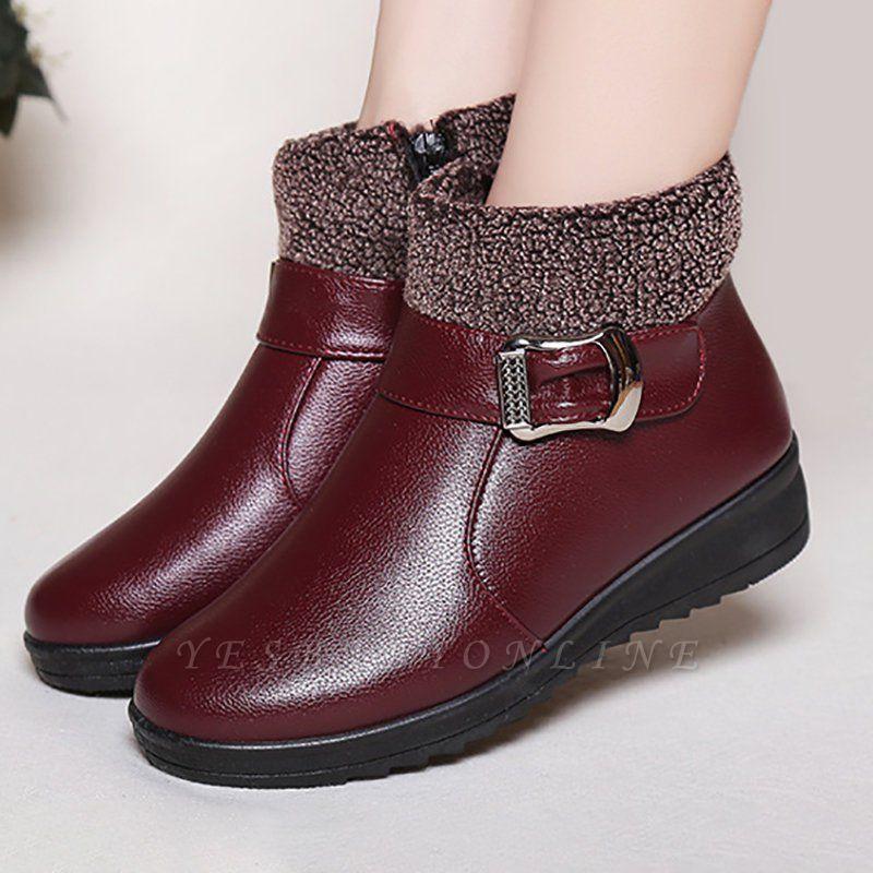 Wedge Heel Daily Zipper Round Toe Buckle Boots