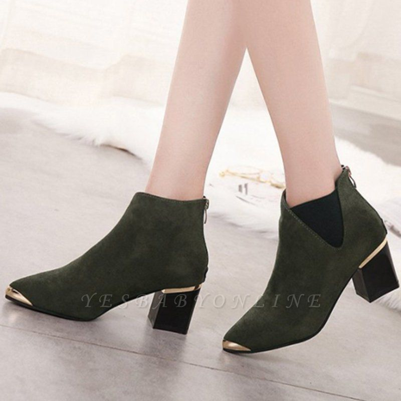 Suede Chunky Heel Pointed Toe Elegant Boot
