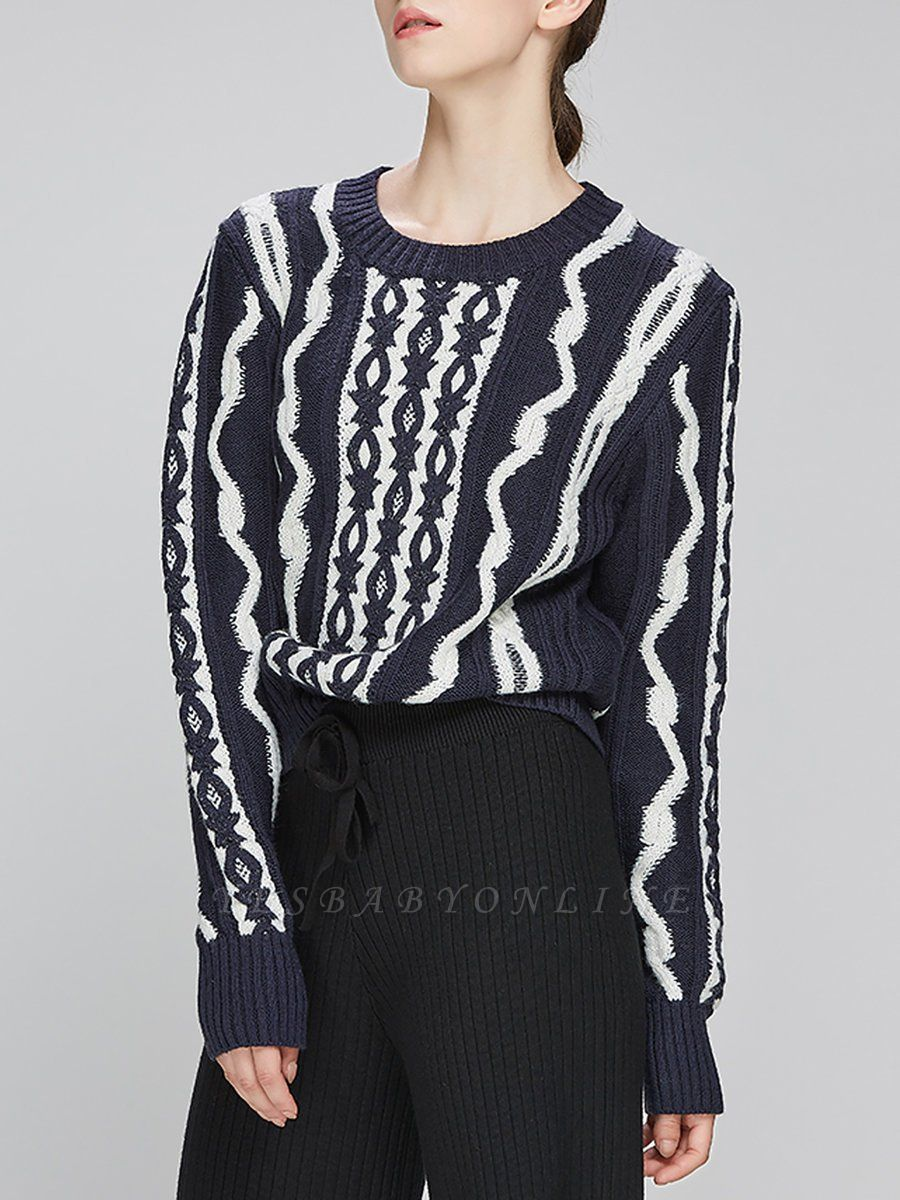 Navy Blue Cable Long Sleeve Casual Geometric Sweater