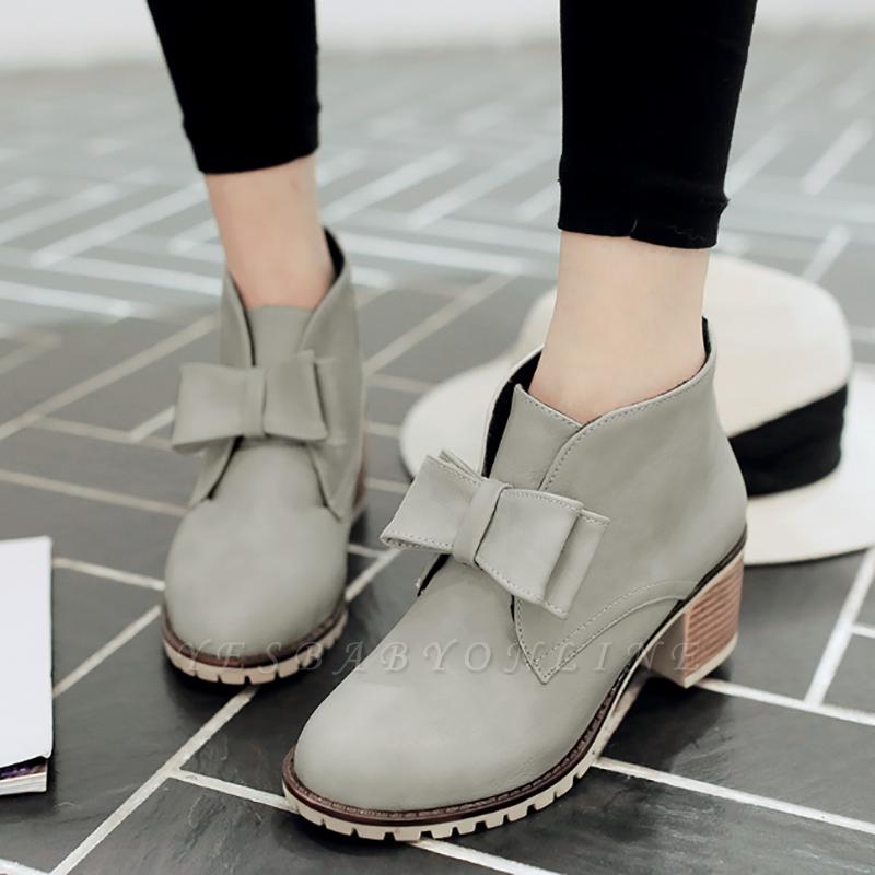 Daily Chunky Heel Bowknot Round Toe Elegant Boots