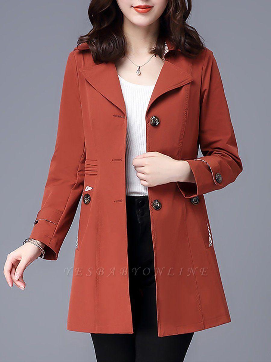Lapel Long Sleeve Casual Buttoned Pockets Paneled Coat