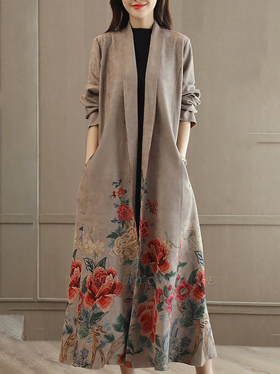 Casual Long Sleeve Pockets Floral-print A-line Coat