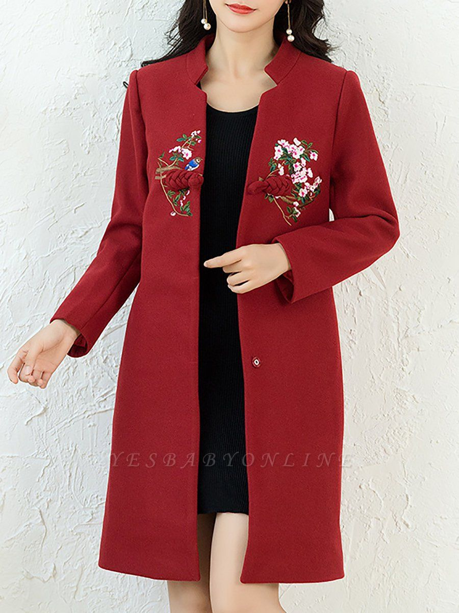 Floral Embroidered Stand Collar Shift Coats