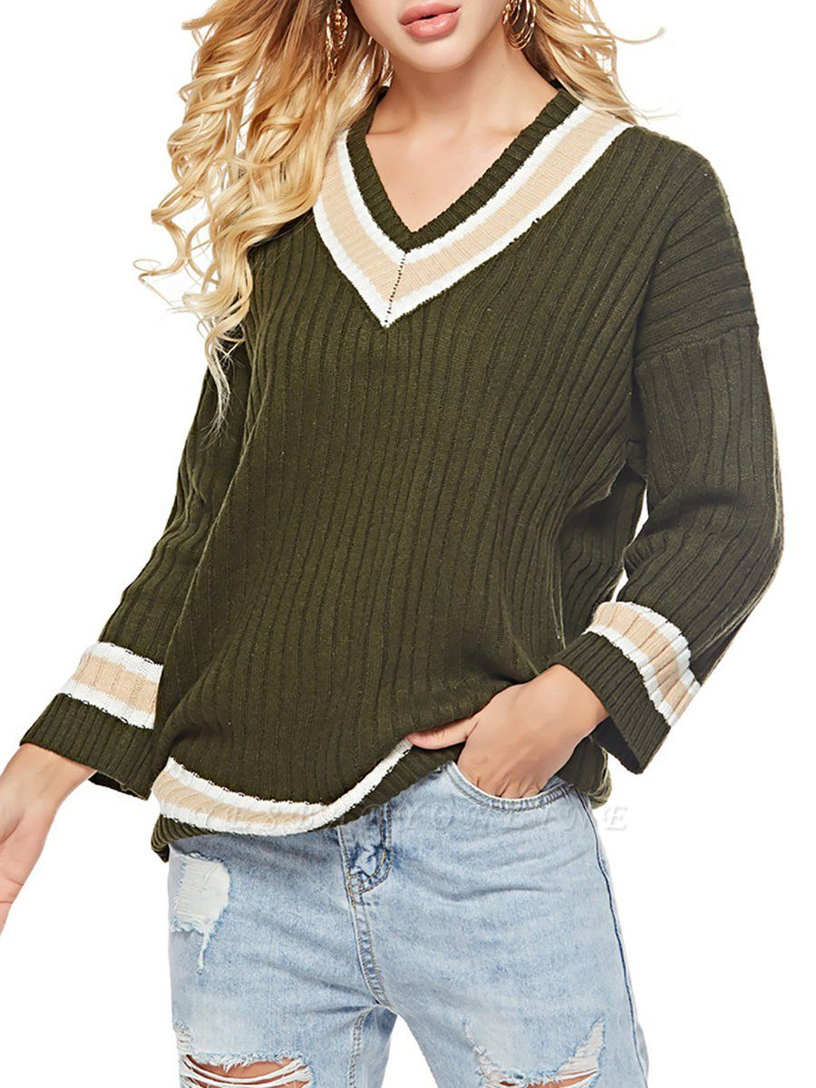 Casual Ribbed Solid Long Sleeve Sweater