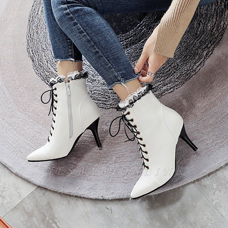 Date Fall Stiletto Heel Lace-up Pointed Toe Boots