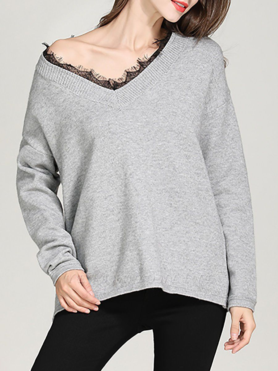 Crew Neck Long Sleeve Casual Shift Sweater