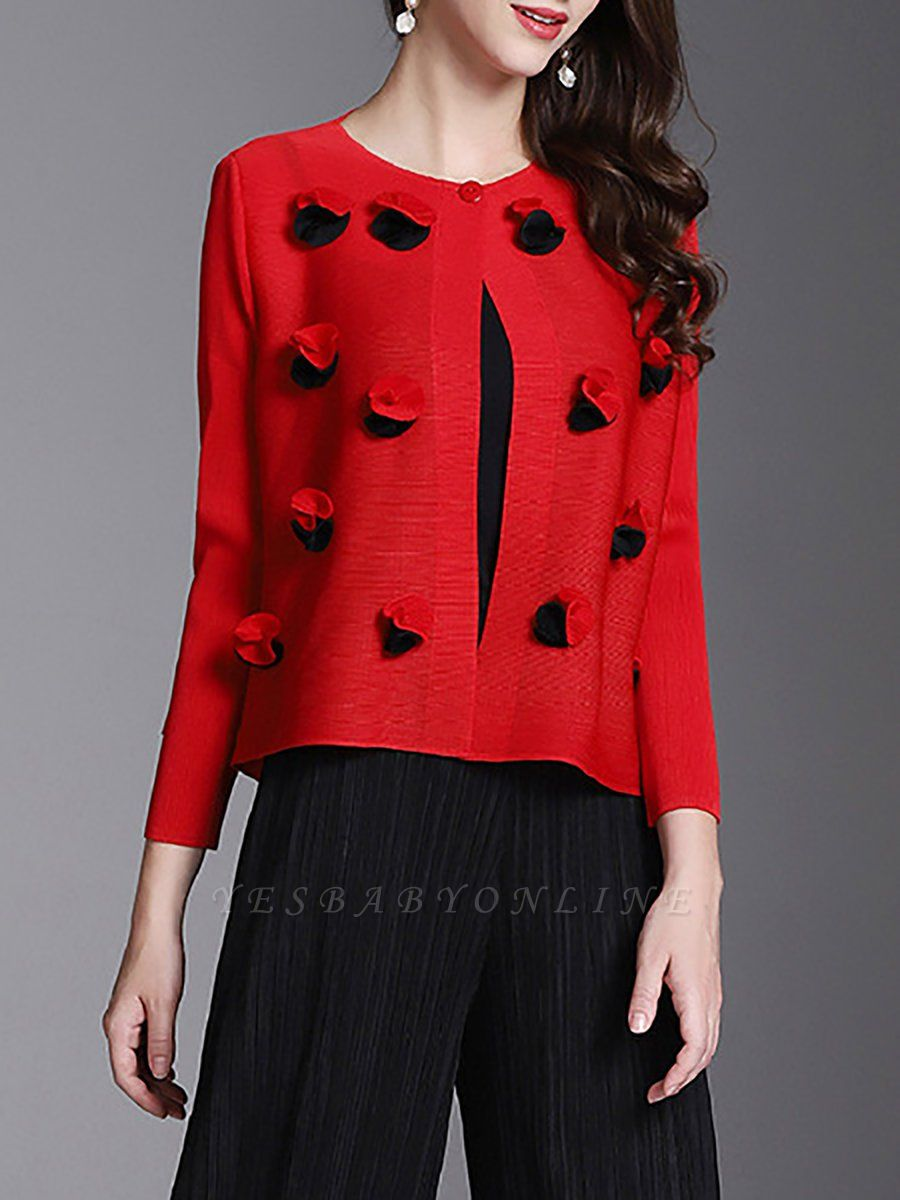 Long Sleeve Floral Casual Coat