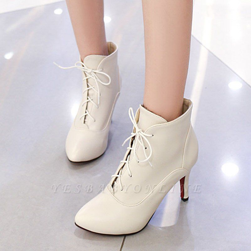 Lace-up Stiletto Heel Pointed Toe Elegant Boots