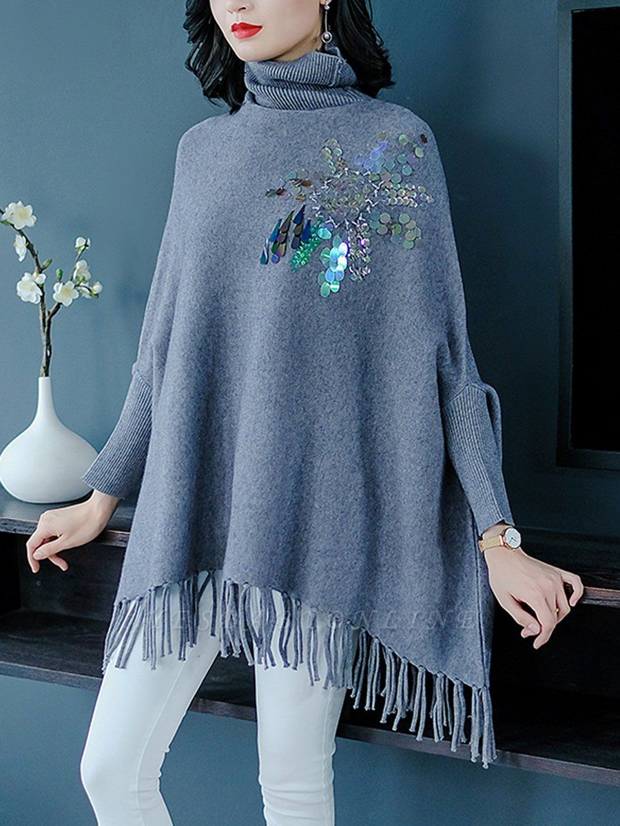 Gray Batwing Casual Fringed Turtleneck Solid Sweater