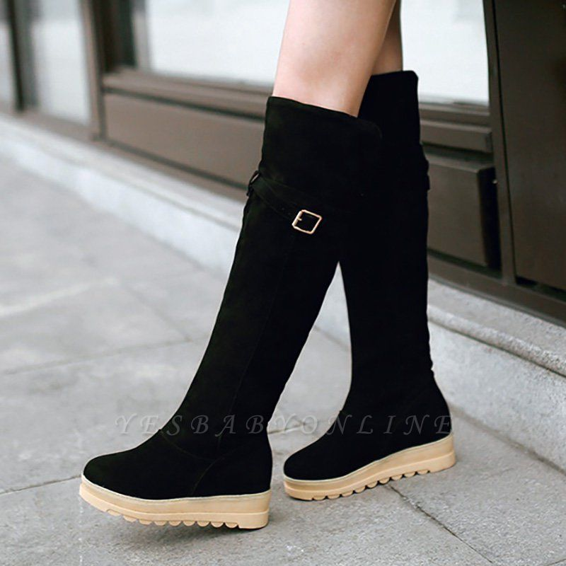 Suede Daily Wedge Heel Buckle Casual Boot