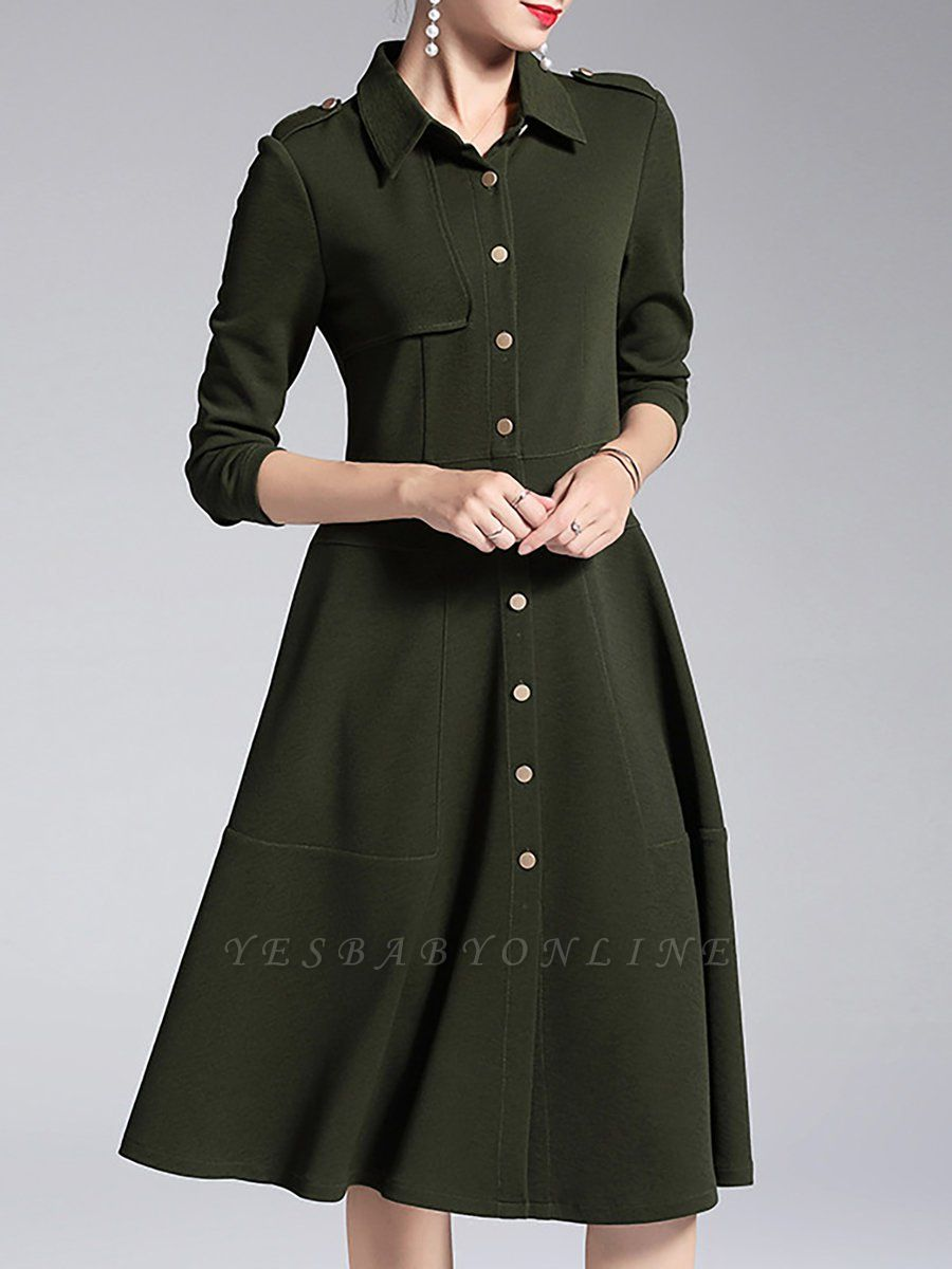 A-line Shirt Collar Buttoned Casual Long Sleeve Paneled Solid Coat