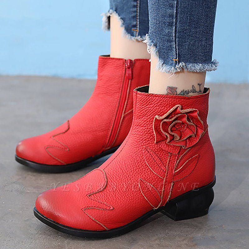 Chunky Heel Leather Flower Round Toe Boots
