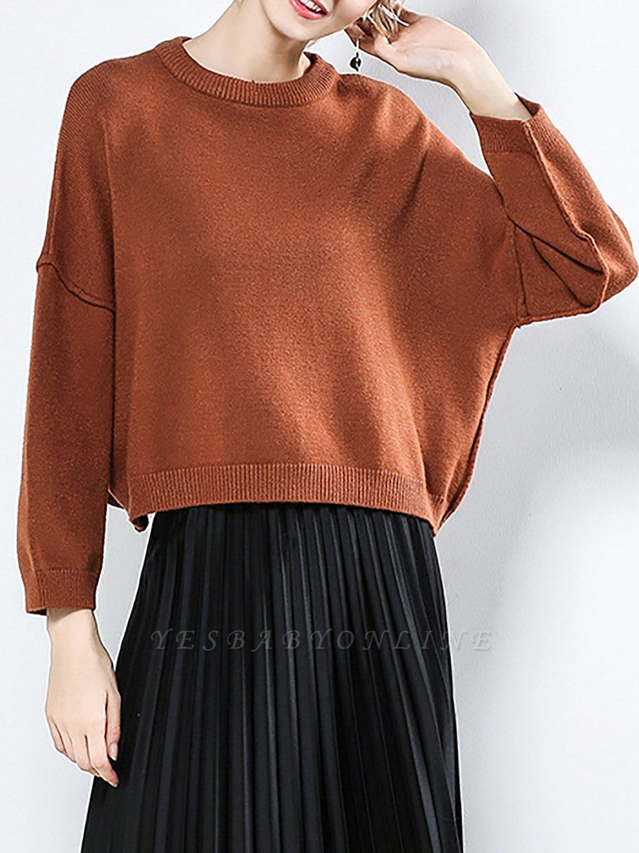 Casual Paneled Long Sleeve Solid Crew Neck Sweater