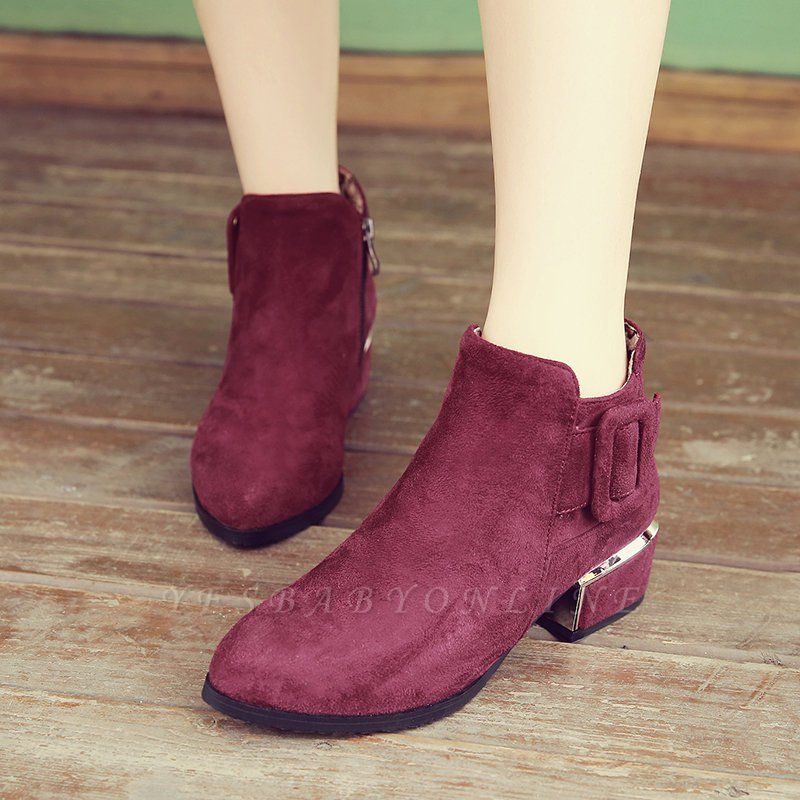 Chunky Heel Suede Button Boots